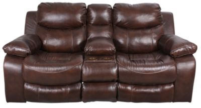 Catnapper Dallas Leather Reclining Loveseat with Console