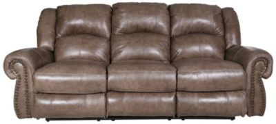 Catnapper Livingston Leather Reclining Sofa w/Tip Down Table