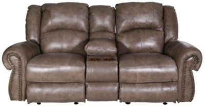 Catnapper Livingston Leather Gliding Loveseat with Console