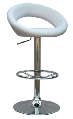 Chintaly 379 Collection White Adjustable Stool
