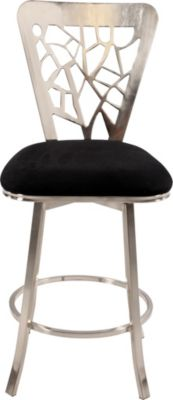 Chintaly 0413 Collection Black Microfiber Counter Stool
