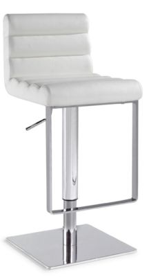 Chintaly 830 Collection White Adjustable Stool
