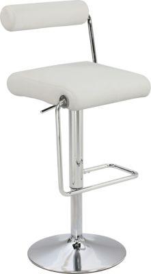 Chintaly 979 Collection White Adjustable Stool