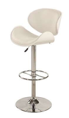 Chintaly 1376 Collection White Adjustable Stool