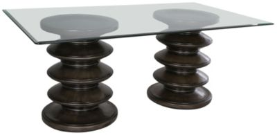 C.M.I. Galaxy Double Pedestal Glass Table