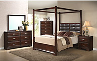 Crown Mark Jacob 4-Piece Queen Canopy Bedroom Set