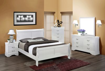 Crown Mark Louis Philippe White 4-Piece Queen Bedroom Set