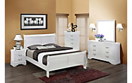 Crown Mark Louis Philippe White 4-Piece King Bedroom Set