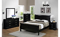 Crown Mark Louis Philippe Black Dresser with Mirror