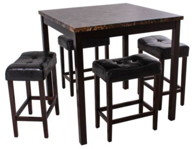 Crown Mark Kinsey Counter-Height Faux Marble Dining Set