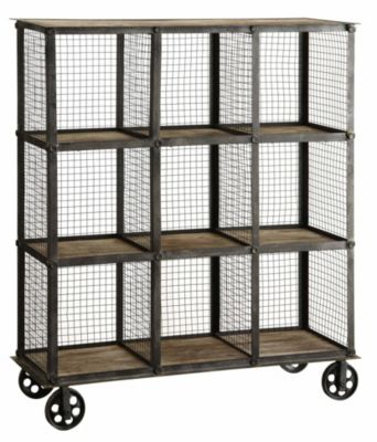 Crestview Industrial Metal and Wood Bookcase