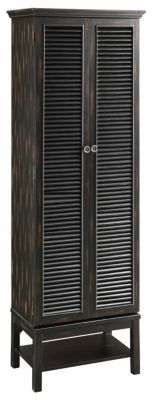 Crestview Louvered Door Black Cabinet