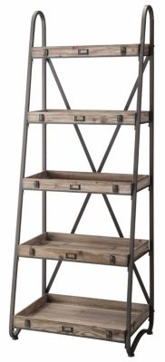 Crestview Voyager Metal and Wood Tiered Etagere