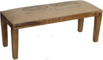 Crestview Bengal Manor Mango Wood Burlap Bench