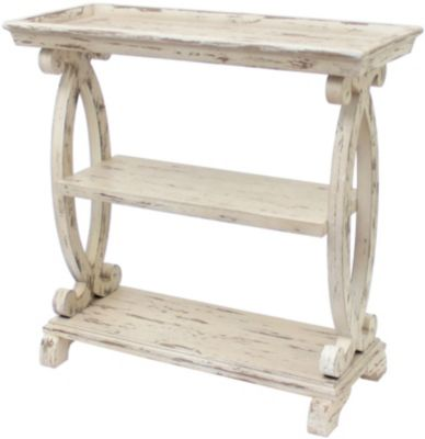 Crestview Newport Distressed White Console Table