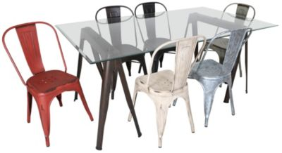 Coaster Glass Table & 6 Metal Chairs