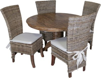 Dovetail Francisco Table & 4 Preston Rattan Chairs