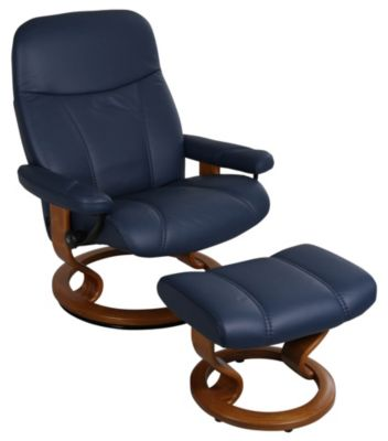 Ekornes Ambassador 100% Leather Chair & Ottoman