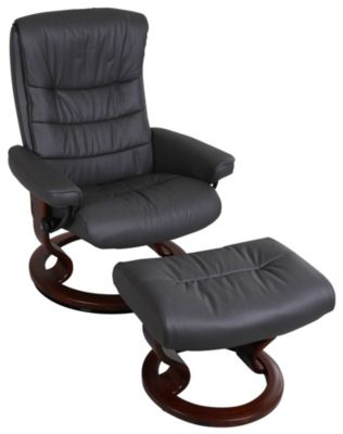 Ekornes Nordic 100% Leather Medium Chair & Ottoman