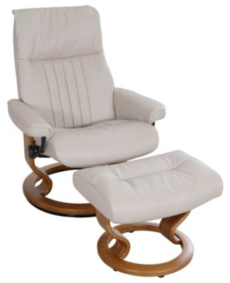 Ekornes Crown 100% Leather Large Chair & Ottoman