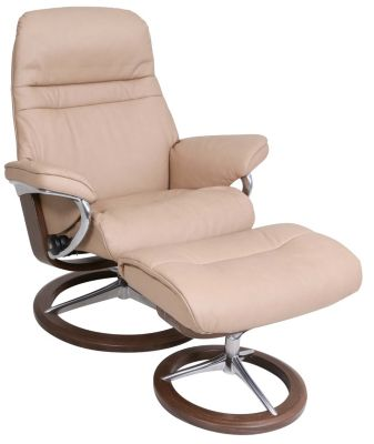 Ekornes Sunrise 100% Leather Medium Chair & Ottoman