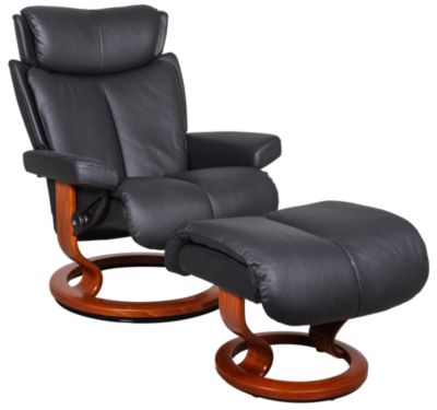 Ekornes 100% Magic Medium Leather Chair & Ottoman