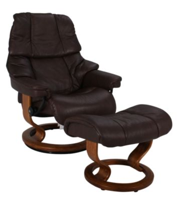 Ekornes Tampa 100% Leather Stressless Chair and Ottoman