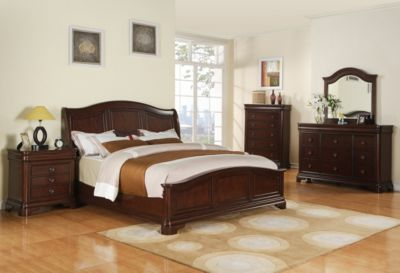 Elements International Group Cameron 4-Piece King Sleigh Bedroom Set