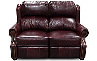 England Lucia Burgundy 100% Leather Reclining Loveseat