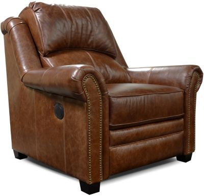 England Lanie Leather Power Recliner with Nailhead Trim