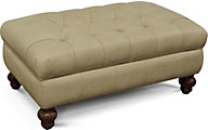 England Loudon Cream Leather Storage Ottoman