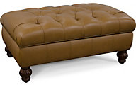 England Loudon Tan 100% Leather Storage Ottoman