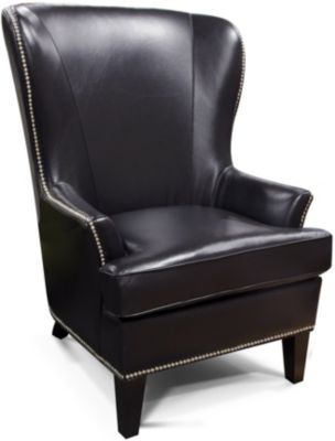England Luther Black 100% Leather Wing Chair