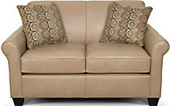 England Lilly Cream Leather Loveseat