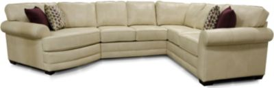 England Landry Cream 4-Piece 100% Leather Sectional