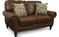 England Leight Brown Leather Loveseat