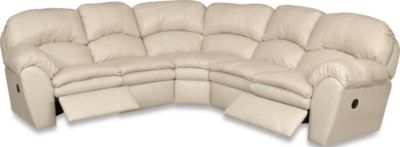 England Oakland Cream 3-Piece Leather Reclining Sectional