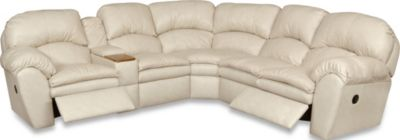 England Oakland Leather Reclining Console Sectional