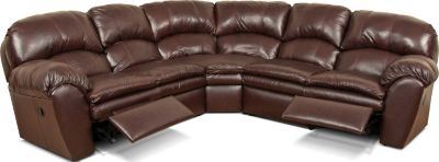 England Oakland Brown 3-Piece Leather Reclining Sectional