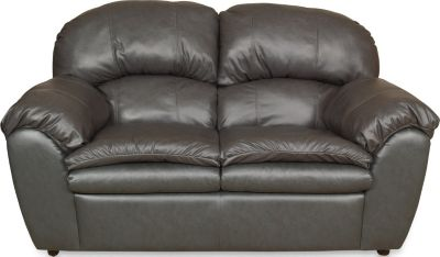 England Oakland Gray Leather Loveseat
