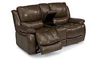 Flexsteel Zandra Leather Power Reclining Loveseat w/Console