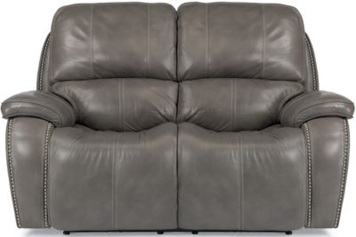 Flexsteel MacKay Gray Leather Power Reclining Loveseat