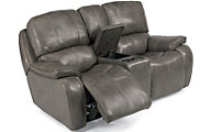 Flexsteel MacKay Leather Power Reclining Console Loveseat