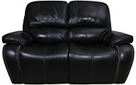 Flexsteel Mackay Black Leather Power Reclining Loveseat