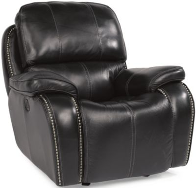Flexsteel MacKay Espresso Leather Power Glider Recliner