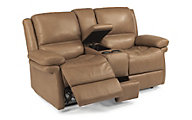 Flexsteel Skyler Power Reclining Leather Loveseat w/Console