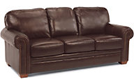 Flexsteel Harrison Brown 100% Leather Sofa