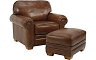 Flexsteel Harrison Brown 100% Leather Accent Chair