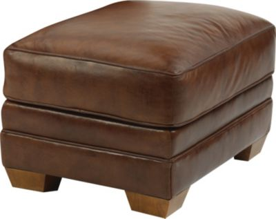 Flexsteel Harrison Brown 100% Leather Ottoman