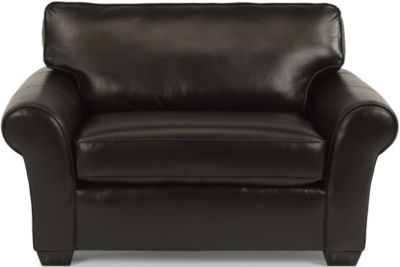 Flexsteel Vail Black 100% Leather Chair & 1/2